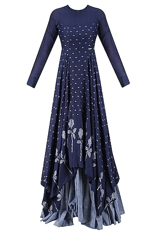 Indigo and Light Blue Rose and Triangle Jamdani Brocade Motifs Maxi Dress by Debashri Samanta