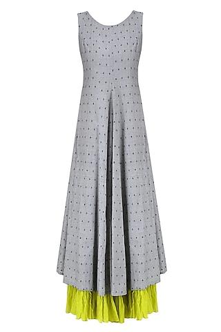 Light Grey and Lime Jamdani Brocade Motifs Maxi Dress by Debashri Samanta