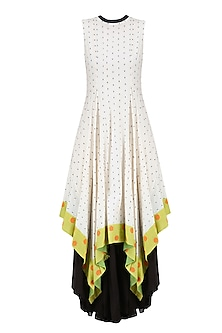 Ivory, Black and Lime Dot Jamdani Asymmetric Maxi Dress by Debashri Samanta