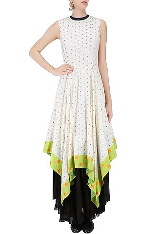 Ivory, Black and Lime Dot Jamdani Asymmetric Maxi Dress by Debashri Samanta