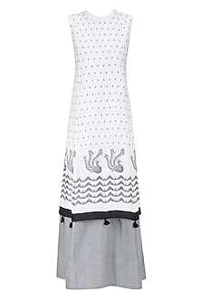 Ivory and Grey Peacock Jamdani Brocade Motif Panelled Layered Maxi Dress by Debashri Samanta