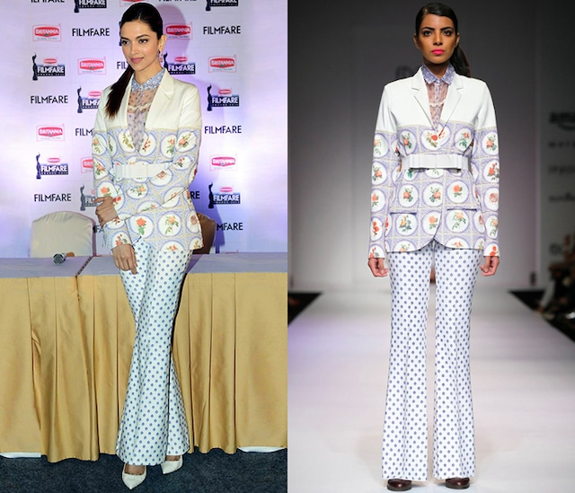 White Printed Blazer by Archana Rao