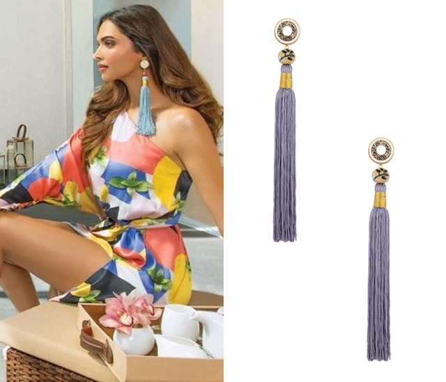 Steel Grey Silk Tassel Earrings by Valliyan by Nitya Arora