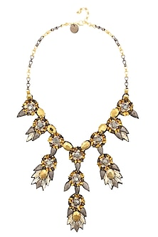 Metallic Gold Crystal, Beads and Sequinned Motifs Necklace by Deepa by Deepa Gurnani