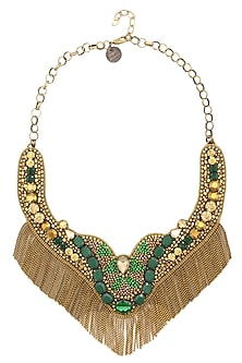 Gold and Emerald Green Stone and Beads Tassel Necklace by Deepa by Deepa Gurnani