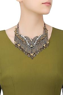 Metallic Gold and Gun Beads and Swarovski Tassel Necklace by Deepa by Deepa Gurnani