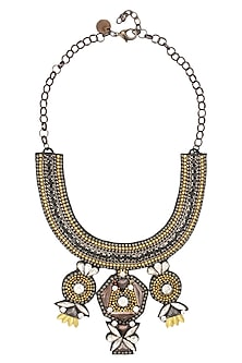 Gold, Gun and Silver Floral Beaded Motifs Necklace by Deepa by Deepa Gurnani