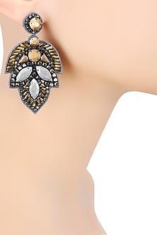 Matte Gold and Matte Gun Crystal Embellished Earrings by Deepa by Deepa Gurnani