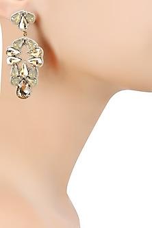 Gold Crystal Stone Embellished Earrings by Deepa by Deepa Gurnani