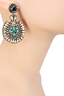 Gold, Emerald Green and Zircons Embellished Earrings by Deepa by Deepa Gurnani