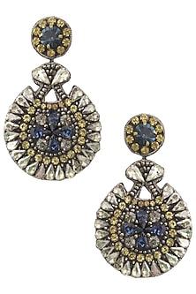 Gun Color Sapphire Blue Stone and Zircons Embellished Earrings by Deepa by Deepa Gurnani
