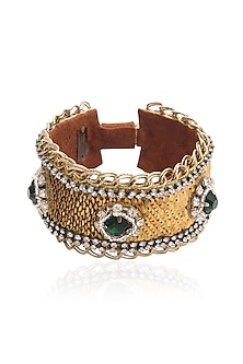 Gold and Emerald Green Stone and Zircons Embellished Strap Bracelet by Deepa by Deepa Gurnani