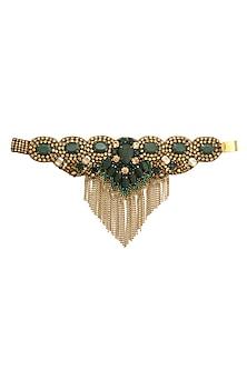 Gold and Emerald Green Stones Emebellished Tassel Bracelet by Deepa by Deepa Gurnani