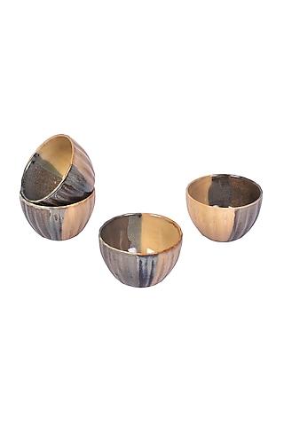 Pastel Brown Ceramic Bowls (Set of 4) by The 7 Dekor