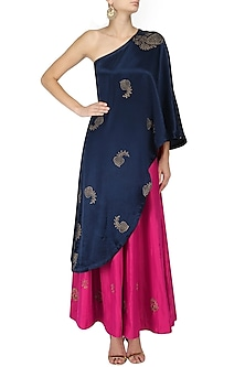 Navy blue block print drape tunic and fuschia pink sharara set by Vandana Dewan