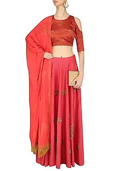 Vermilion Red and Burnt Orange Embroidered Lehenga Set by Vandana Dewan