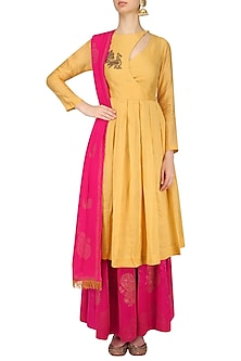 Chandan Embroidered Angrakha Kurta and Fuschia Pink Sharara Set by Vandana Dewan