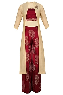Gold Embroidered Long Jacket and Maroon Printed Pants Set by Vandana Dewan