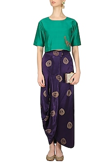 Emerald Green Embroidered Crop Top and Purple Drape Skirt Set by Vandana Dewan