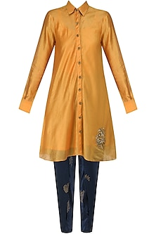 Yellow orange Flared Dress with Navy Hand Block Print Pants by Vandana Dewan
