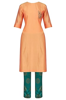 Yellow Embroidered High Low Kurta with Emerald Green Pants by Vandana Dewan