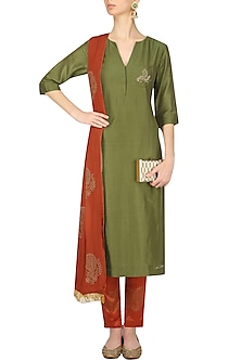 Mehendi Green Peacock Motifs Kurta with Burnt Orange Pants by Vandana Dewan