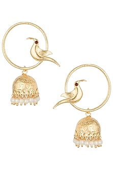 Gold plated red crystal bird jhumki earrings by Digna