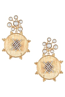 Gold plated grid centre earrings by Digna