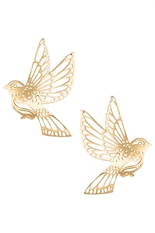 Gold plated flying bird earrings by Digna