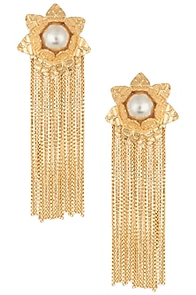 Gold plated pearl and tasseled floral earrings by Digna
