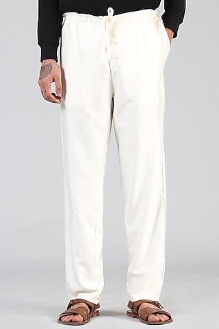 Ivory Pajama Pants With Drawstrings by Dhatu Design Studio