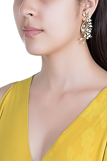 Gold Plated Handcrafted Enamled Earrings by Dhwani Bansal