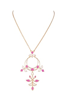 Gold Plated Handcrafted Pendant Chain Necklace by Dhwani Bansal