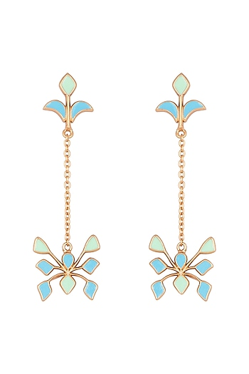 Gold Plated Handcrafted Enamled Long Earrings by Dhwani Bansal