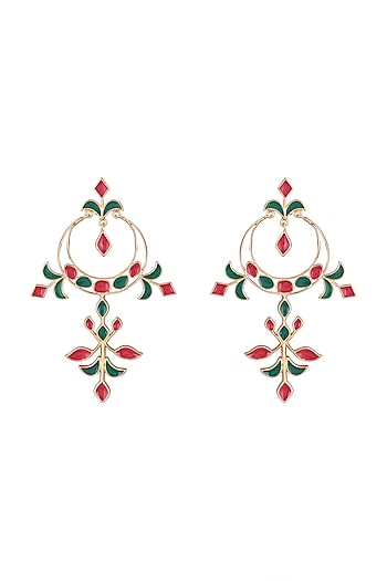 Gold Plated Handcrafted Red & Emerald Enameled Long Earrings by Dhwani Bansal