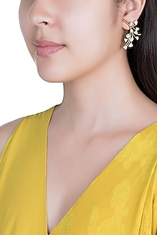 Gold Plated Handcrafted Enamled Peacock Earrings by Dhwani Bansal