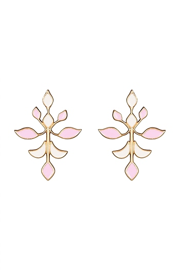 Gold Plated Handcrafted Pink & White Enamled Earrings by Dhwani Bansal