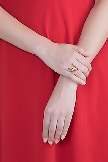 Gold Plated Handcrafted Red & Emerald Enameled Adjustable Ring by Dhwani Bansal