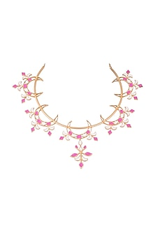 Gold Plated Handcrafted Enameled Kada Necklace by Dhwani Bansal