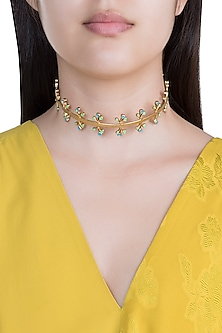 Gold Plated Handcrafted Enameled Choker Necklace by Dhwani Bansal