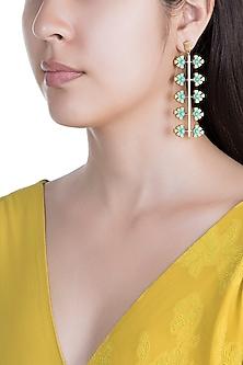 Gold Plated Handcrafted Enameled Dangler Earrings by Dhwani Bansal