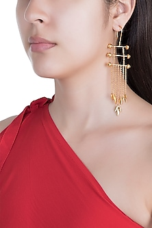 Antique Gold Plated Handcrafted Mughal Earrings by Dhwani Bansal