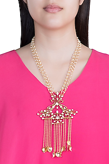 Gold Plated Handcrafted Enameled Pearl Necklace by Dhwani Bansal