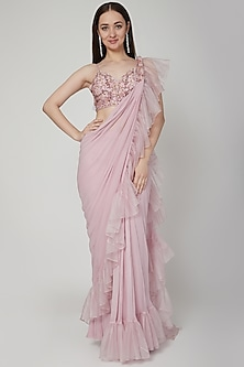 Lavender Pre-Draped Embroidered Saree Set by Nitika Kanodia Gupta