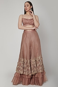 Almond Brown Embroidered Sharara Set by Nitika Kanodia Gupta