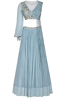 Baby Blue Embroidered Lehenga Set by Dheeru and Nitika