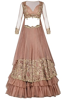 Almond Embroidered Ruffled Lehenga Set by Dheeru and Nitika