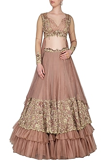 Almond Embroidered Ruffled Lehenga Set by Nitika Kanodia Gupta