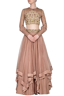 Almond Embroidered Layered Lehenga Set by Nitika Kanodia Gupta