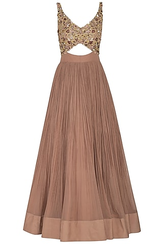 Almond Embroidered & Pleated Cutout Gown With Dupatta by NIKITA KANODIA GUPTA